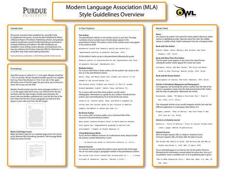 MLA Style Guidelines Overview Poster-OWL at Purdue.jpg