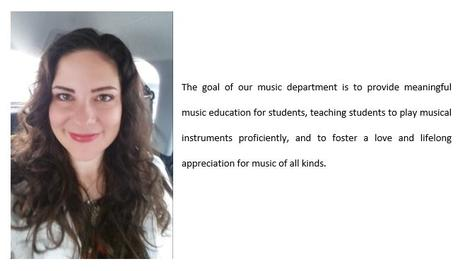 Picture of Mrs. Mizerak. The goal of our music department is to provide  meaningful music education for students, teaching students to play musical  instruments proficiently, and to foster a love and lifelong appreciation for  music of all kinds.